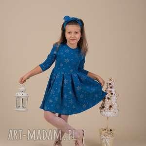 pomysł na prezent Dziecięca sukienka ŚNIEŻYNKA niebieska!!, śnieżynki, święta