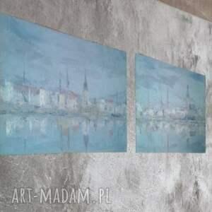 panorama rygi - dyptyk, obraz olejny, na płótnie, pejzaż miejski