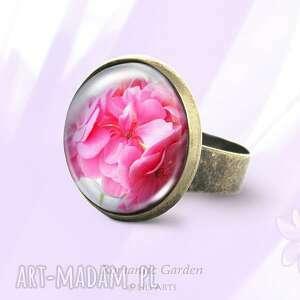 pierścionek - różowa pelargonia antyczny brąz, pierścionek, kwiat