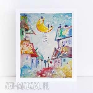 miasteczko-akwarela formatu 18/24 cm, akwarela, domki, miasteczko, koty