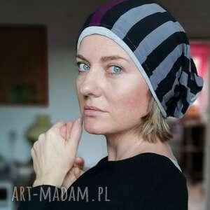 handmade czapki czapka damska dzianinowa w paski przecena