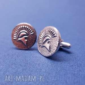 srebrne spinki o mankietów hełm sparta spartan, srebro, sparta, spartan