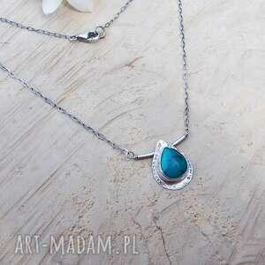 turkus zielony w kropli - naszyjnik, srebrna biżuteria, srebrny naszyjnik