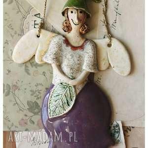 hand made ceramika aniołek calineczka
