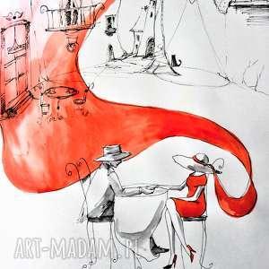 akwarela w kawiarni artystki plastyka adriany laube, akwarela, kawiarnia, kot