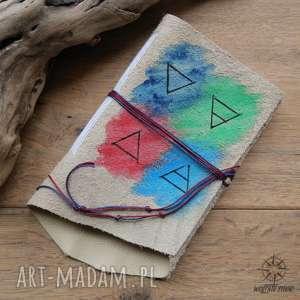 handmade notesy notes a6 ze skórzaną miękką okładką żywioły - ręcznie robiony