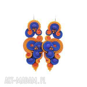 kolczyki renire indygo soutache, rękodzieło, orientalne, stylowe, soutache