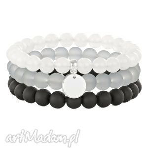 Simply Charm-Moon, black, gray & silver trio. - ,jadeit,moneta,blackstone,