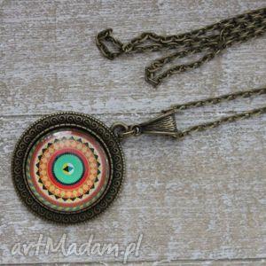 Bboho kolorowy długi naszyjnik mandala, wisiorek, okrągły, boho, długi,