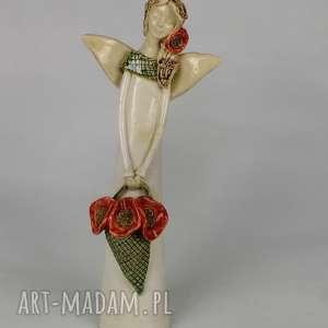 Anioł z makami, anioł, ceramiczny, maki