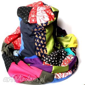 kompet damski szal i czapka mega kolorowy, komplet, szal, czapka, etniczny, bohemian