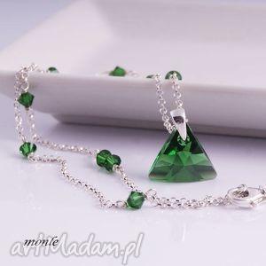 Triangle, delikatny naszyjnik, zielony, swarovski, srebro,