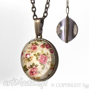 kulisty dwustronny medalion - retro róże 0218spb egginegg, kulka