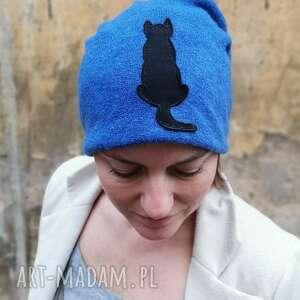 ręcznie zrobione czapki czapka handmade wełniana z kotem box 44 rozmiar