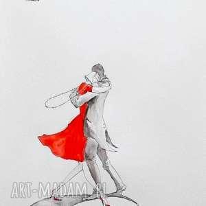 praca akwarelą i piórkiem taniec na ksiĘŻycu artystki plastyka adriany