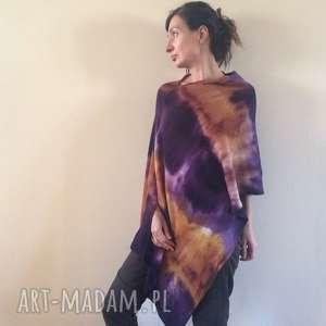 handmade poncho ciepłe wełniane miodowo fioletowe ponczo
