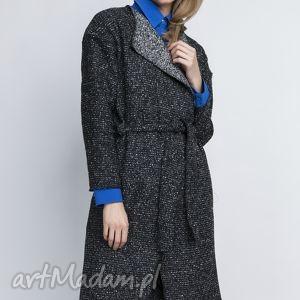 płaszcz, pa102 grafit - płaszcz, trencz, szlafrokowy, wełna, pasek, grafitowy