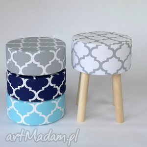 tworczy kat stołek puf fjerne m biało-szaro koniczyna, handemade, stołek, podnóżek