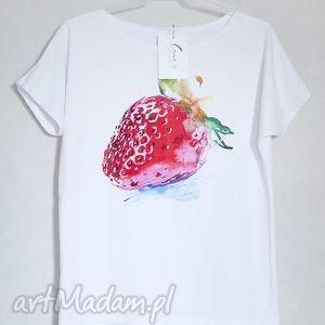 TRUSKAWKA koszulka bawełniana L/XL biała, koszulka, bluzka, nadruk, truskawka