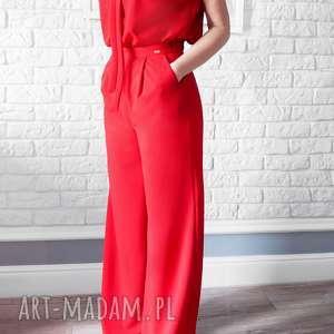 ubrania bien fashion czerwony kombinezon damski z szerokimi spodniami, elegancki