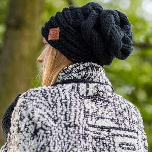 this is it elegancki czarny jesień zima czapka, czarna luźna opadająca