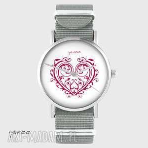 ręcznie robione zegarki zegarek - serce ornamentowe szary, nato