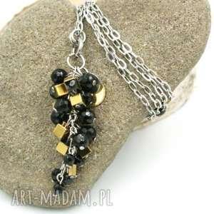 naszyjniki naszyjnik czarno-złoty onyks i hematyt na łańcuszku, wisior