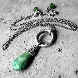 srebro i chryzopraz- naturalny naszyjnik circulario - zielony, chryzopraz, srebro, surowy