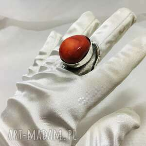 unikatowy srebrny 925 pierścionek z koralowcem rękodzieło