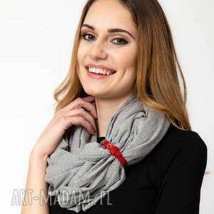 szal bawełniany szalik dzianinowy damski szary, z zapinką
