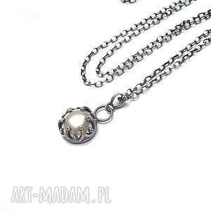 Perła w koronkach - naszyjnik, srebro, perłowy, perła, koronkowy