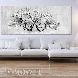 obraz drukowany na płotnie kwitnącym drzewem, drzewo z kwiatami magnolii format