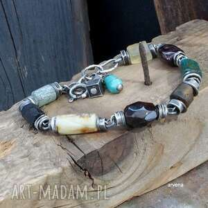 bursztyn,szkło afgańskie - bransoletka 015, srebro oksydowane, granat, szkło