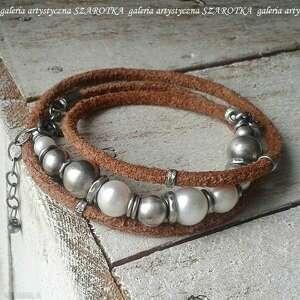 klasyka na surowo bransoletka z pereł, rzemienia i srebra, perła naturalna