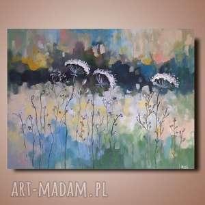 abstrakcyjna łąka -obraz akrylowy formatu 50/40 cm, abstrakcja, obraz, łąka, akryl