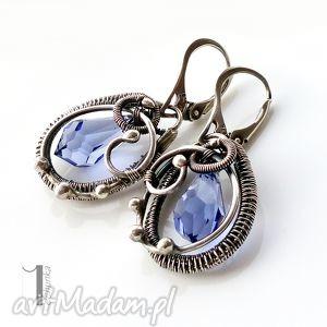 kolczyki tanzanite - z kryształem swarovski, kolczyki, srebrne, swarovski