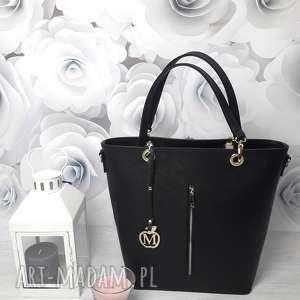 manzana kuferek złote dodatki hot czarny połyskujący, torebka, damska, torba, torebki
