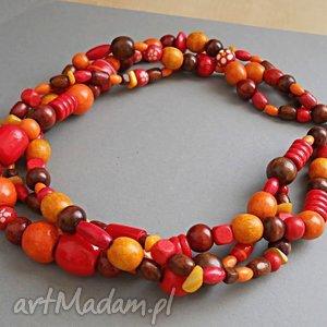 Czerwona pomarańcza, drewno, drewniany, naszyjnik, naturalny