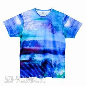 t-shirt męski artistic blue wysoka jakość rozm s/m/l/xl, koszulka, męska, niebieska