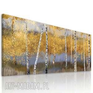 obraz drukowany na płótnie pejzarz z brzozami w odcieniach brązów 150x60cm
