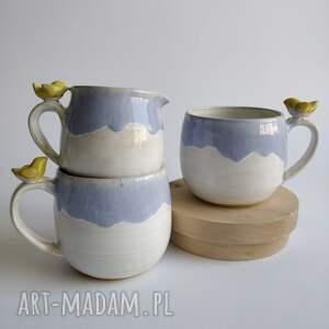 hand-made ceramika zestaw dwóch kubków z dzbanuszkiem