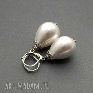 kolczyki z perłą seashell, perełka, delikatne, wiszące, wieczorowe, wyjściowe