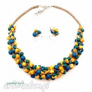 słoneczno morski komplet biżuterii, słoneczny, masaperłowa, drewno, wyplatany