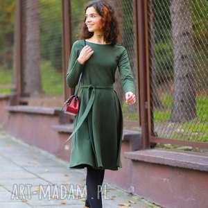 Elegancka rozkloszowana sukienka z dzianiny, t287, zielony