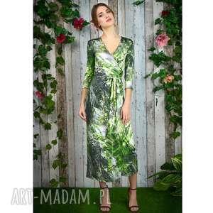 milita nikonorov dżungla - kopertowa sukienka, kopertowa, suknia, druk, nadruk