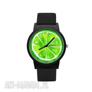 hand made zegarki zegarek z silikonowym paskiem limonka