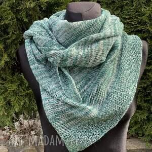 handmade chustki i apaszki chusta asymetryczna z bawełną odcienie zieleni