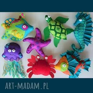filcowe zwierzątka na sznureczku - zestaw 7 zawieszek, zawieszki, z filcu, morskie