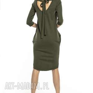 sukienki elegancka sukienka tuba wiązana z dekoltem na plecach, t298, zielona