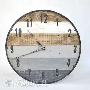 Zegar duży ze starych desek - średnica 57cm, stare, deski, loftowy, vintage,